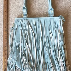 Light blue fringe handbag